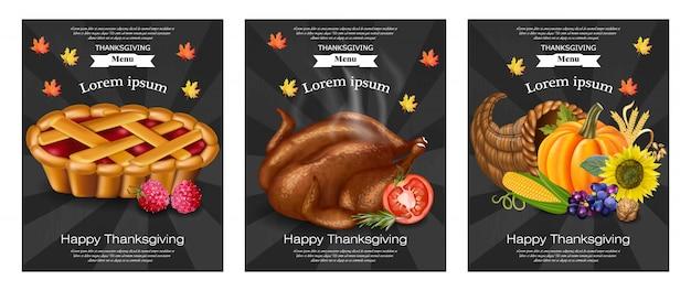 Happy thanksgiving menusjablonen Premium Vector