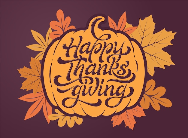 Happy thanksgiving mooie belettering Premium Vector