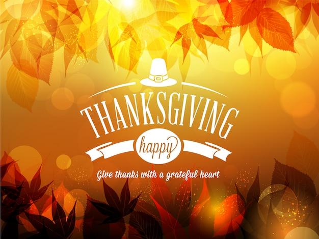 Happy thanksgiving onscherpe achtergrond Premium Vector