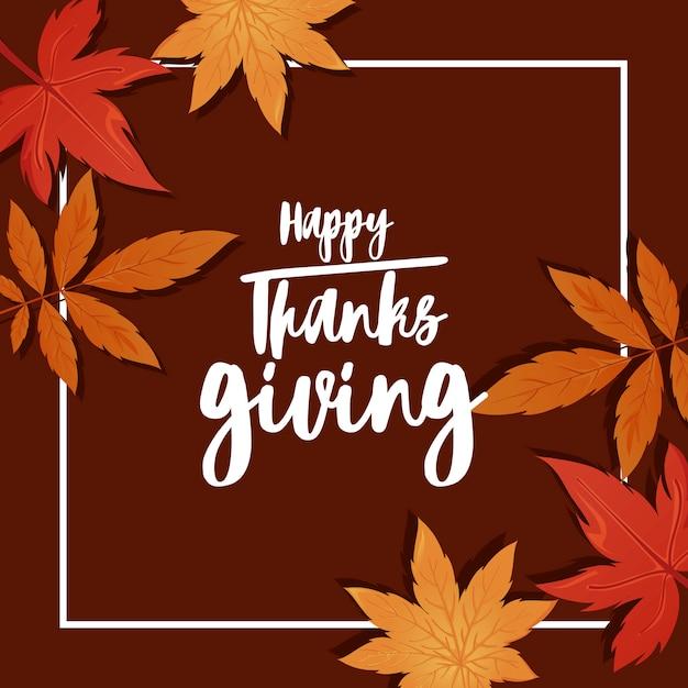 Happy thanksgiving wenskaart en herfstbladeren Premium Vector