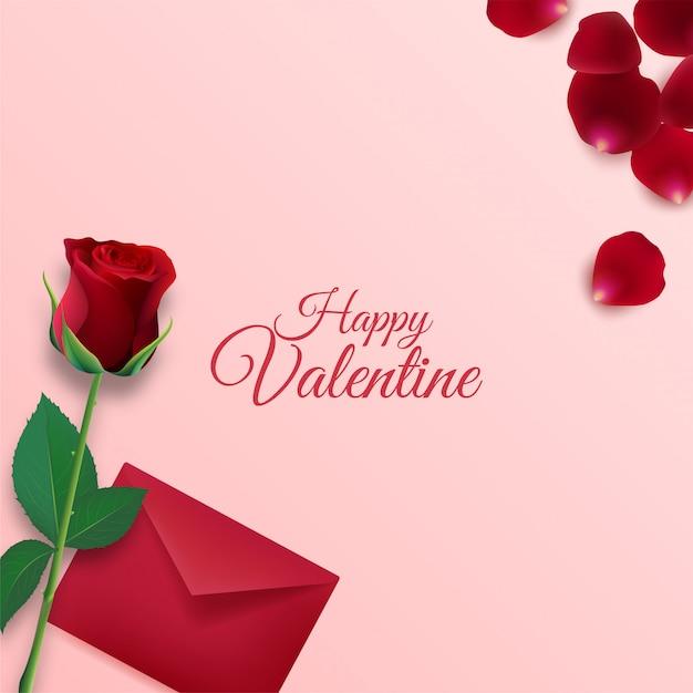 Happy valentijnsdag achtergrond met envelop en roze bloemblaadjes decoraties op roze achtergrond Premium Vector