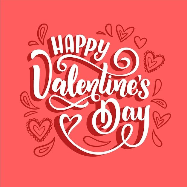 Happy valentijnsdag belettering Gratis Vector
