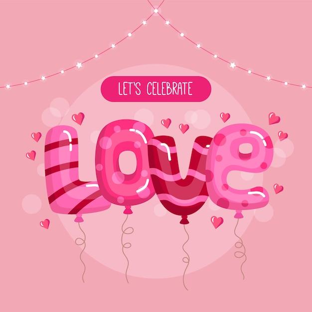 Happy valentijnsdag concept. ballonnen in liefde tekst vorm op de roze banner Premium Vector