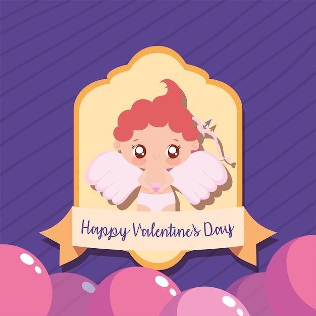 Happy valentijnsdag cupido cartoon Premium Vector