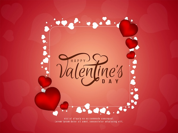 Happy valentijnsdag elegant achtergrondontwerp Gratis Vector