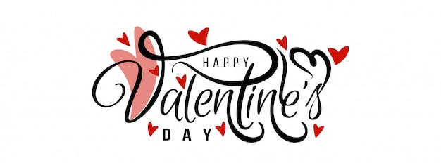 Happy valentijnsdag elegante liefde spandoeksjabloon Gratis Vector