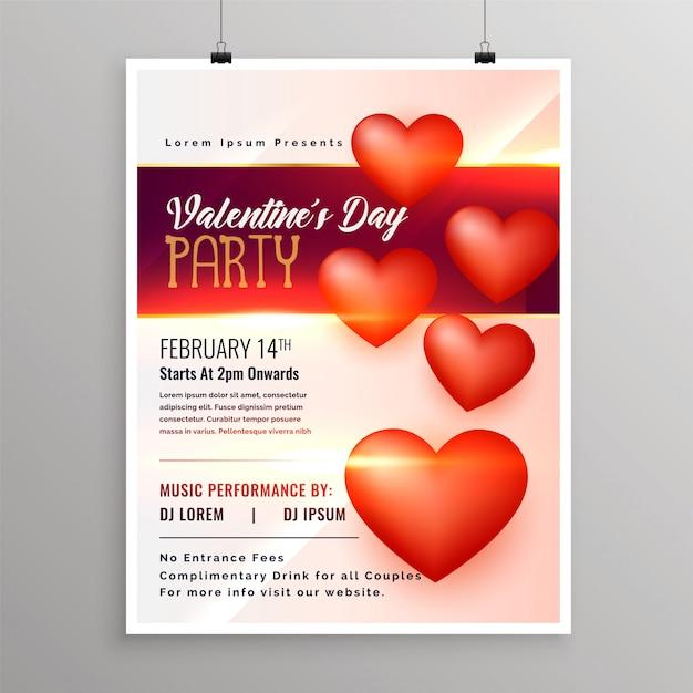 Happy valentijnsdag evenement flyer ontwerpsjabloon Gratis Vector