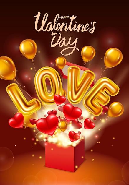 Happy valentijnsdag geschenkdoos open, love gold helium metallic glanzende ballonnen realistisch, aanwezig met vliegende harten, ballons Premium Vector