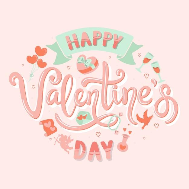 Happy valentijnsdag handgeschreven kalligrafie Premium Vector