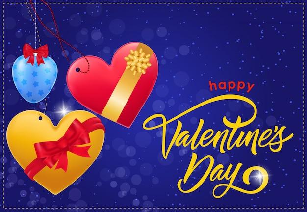 Happy valentijnsdag inscriptie en bogen Premium Vector