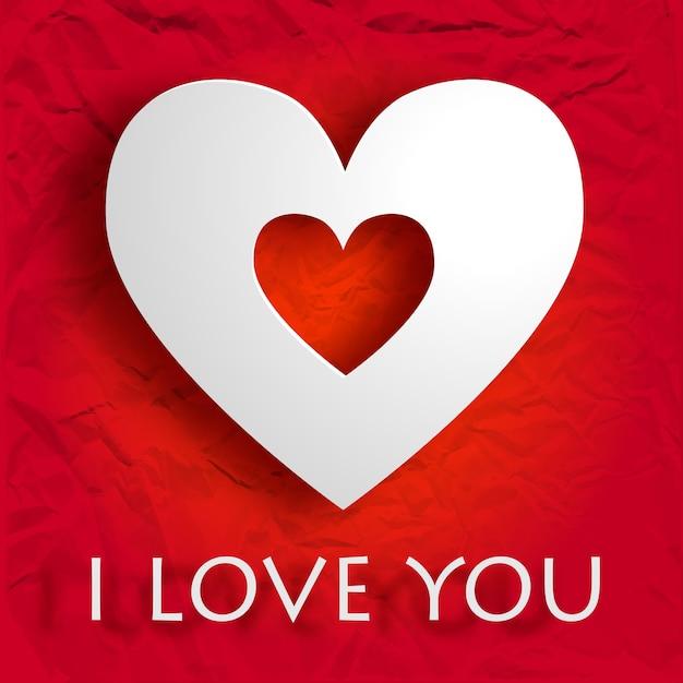 Happy valentijnsdag kaart met inscriptie en wit hart op verfrommeld papier geïsoleerde vectorillustratie Gratis Vector