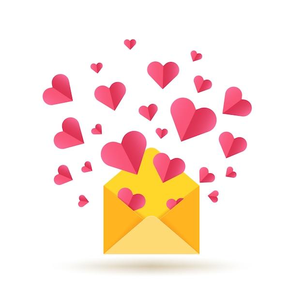 Happy valentijnsdag kaart met open envelop en rode harten Premium Vector