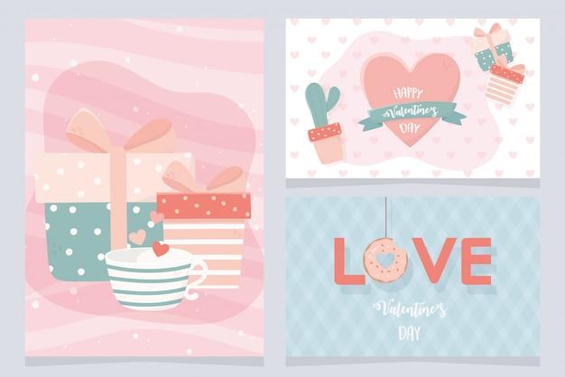 Happy valentijnsdag kaart set met cactus en pictogrammen Premium Vector