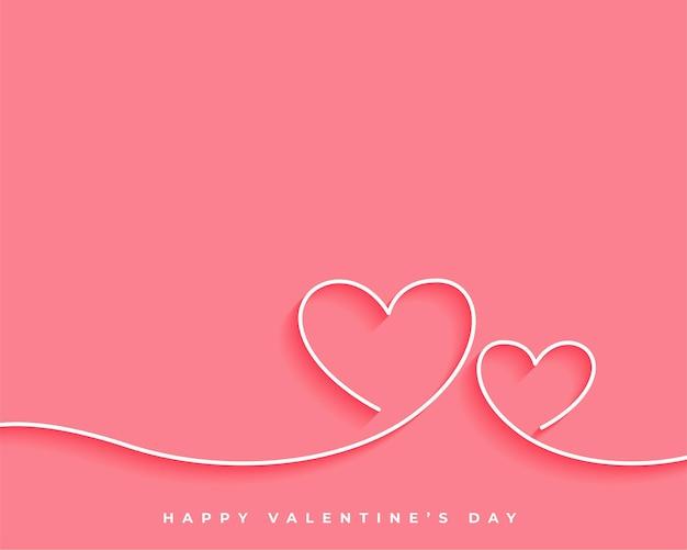 Happy valentijnsdag lijn hart kaart ontwerp Gratis Vector