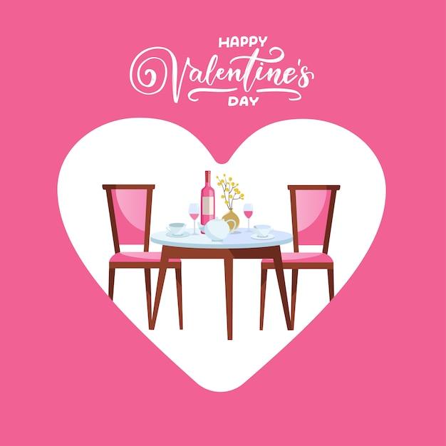 Happy valentijnsdag restaurant tafel met hart. Premium Vector