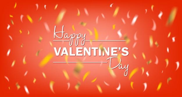 Happy valentijnsdag rode kaart met gouden folie confetti Premium Vector