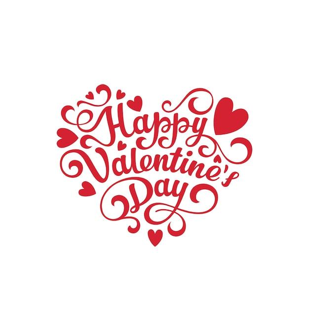 Happy valentijnsdag tekst belettering hartvorm Gratis Vector