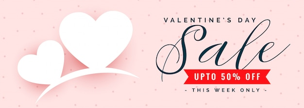 Happy valentijnsdag verkoop en aanbieding banner Gratis Vector