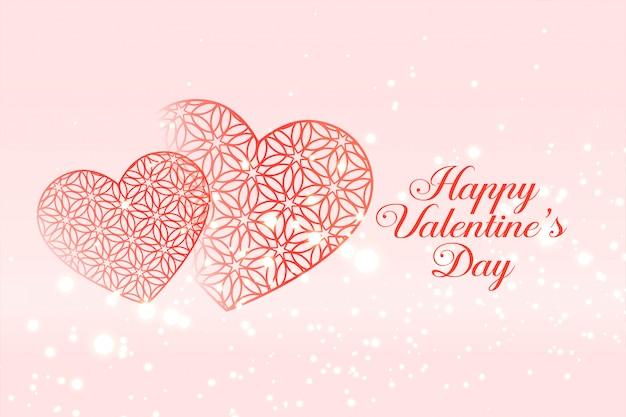 Happy valentijnsdag viering harten wenskaart Gratis Vector