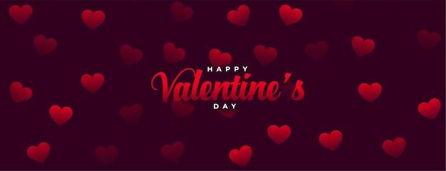Happy valentijnsdag viering kaart met harten patronen Gratis Vector
