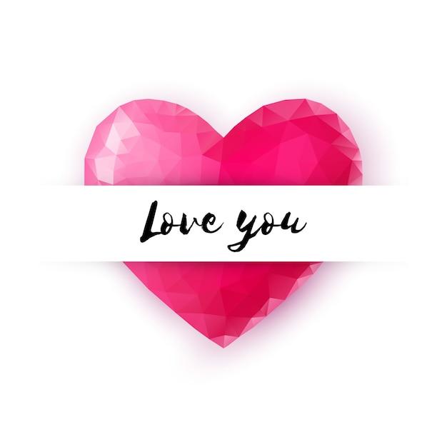 Happy valentijnsdag wenskaart decoratief kristal lowpoly-stijl hart met love you-tekst Premium Vector
