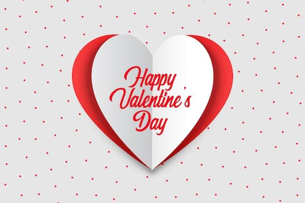 Happy valentijnsdag wenskaart in origami stijl Gratis Vector