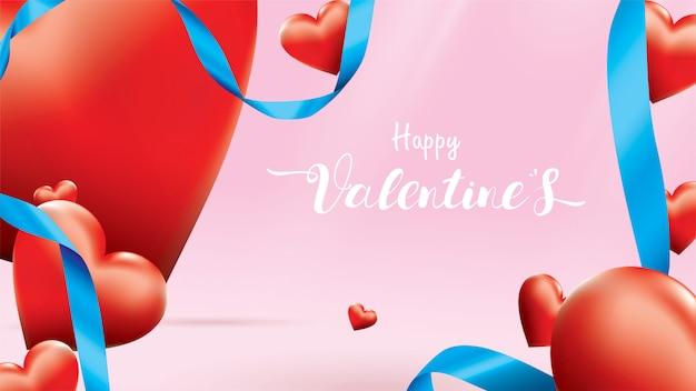 Happy valentine achtergrond Premium Vector
