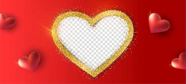 Happy valentine's day achtergrond met realistische hart, fotolijst met gouden glitter. Premium Vector