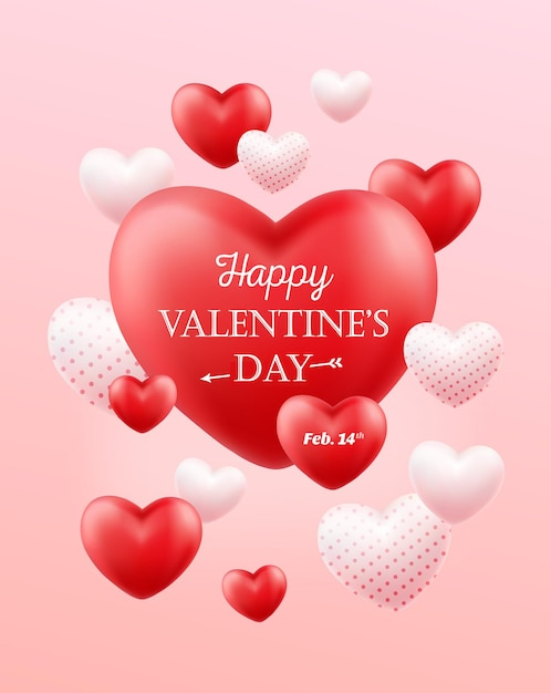 Happy valentine's day illustratie. Premium Vector