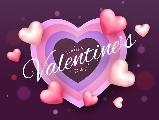 Happy valentine's day lettertype kaart Premium Vector