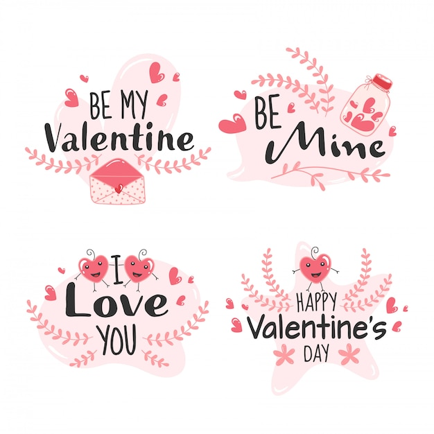 Happy valentine's day message like as be mine, be my valentine, i love you font on white background. Premium Vector