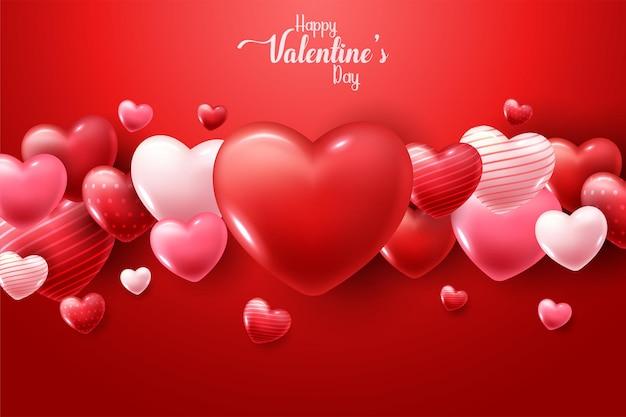 Happy valentine's day met 3d harten Gratis Vector