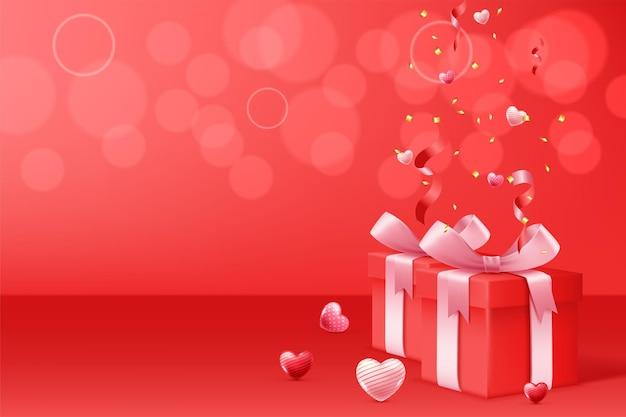 Happy valentine's day met geschenkdoos Gratis Vector