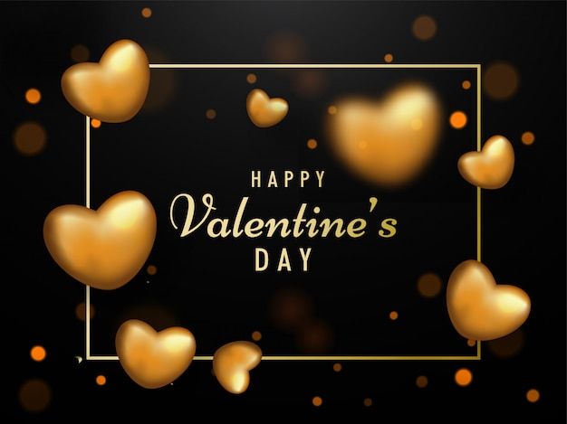 Happy valentine's day tekst met realistische gouden harten versierd op bruine achtergrond. Premium Vector