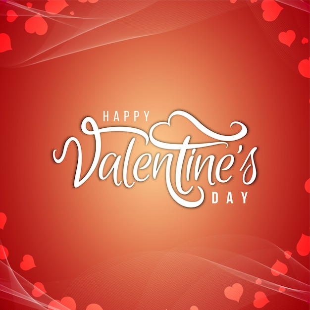 Happy valentine's day tekst ontwerp achtergrond Gratis Vector