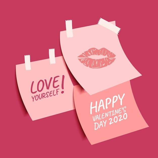 Happy valentine's day verzameling van leuke plaknotities Premium Vector