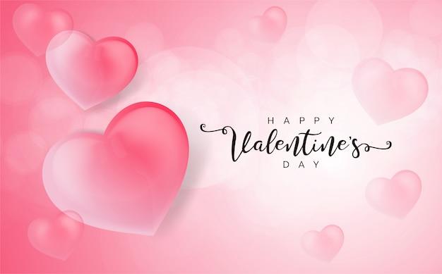 Happy valentine's day wenskaart met 3d harten. Premium Vector