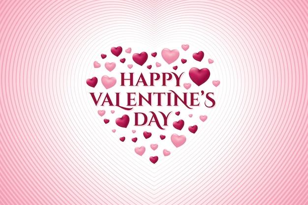 Happy valentine's day wenskaart met hart vorm Premium Vector