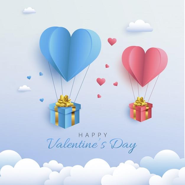Happy valentine's day wenskaart ontwerp. vakantiebanner met de ballon van het hete luchthart. papierkunst en digitale ambachtelijke stijlillustratie Premium Vector