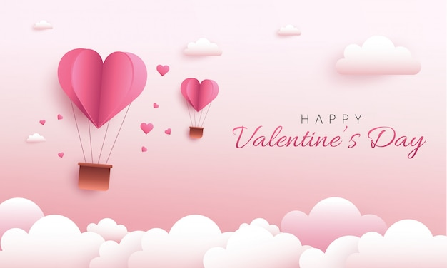 Happy valentine's day wenskaart ontwerp. vakantiebanner met de ballon van het hete luchthart Premium Vector