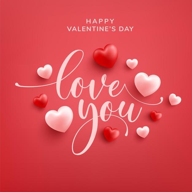 Happy valentine wenskaart met love word hand getrokken belettering en kalligrafie met rood en roze hart op rood Premium Vector