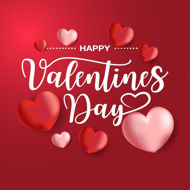 Happy valentines day card met ballonnen hartvormige, vector Premium Vector