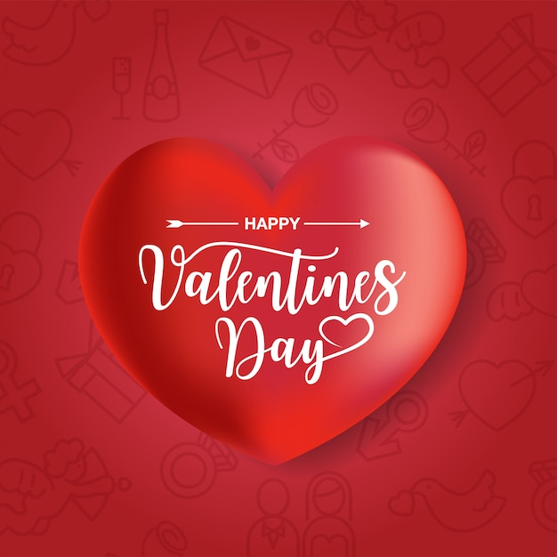 Happy valentines day card Premium Vector