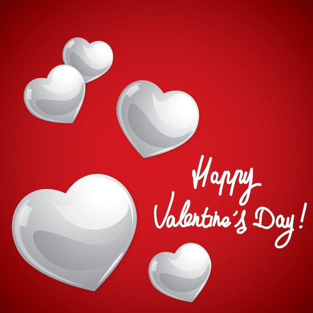 Happy valentines day, glossy sweet hearts Premium Vector