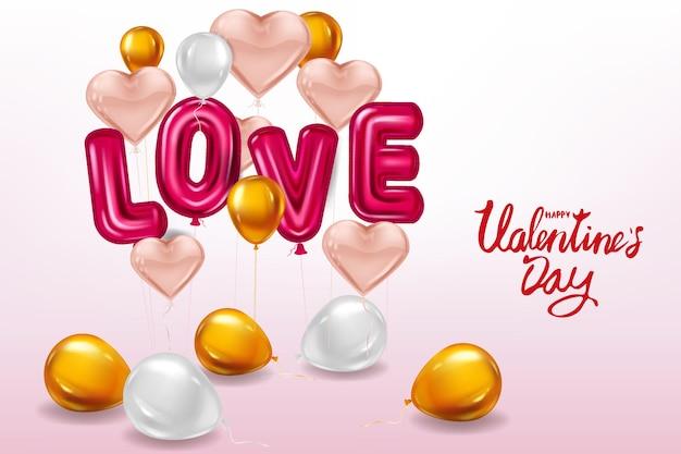Happy valentines day, love helium metallic glanzende ballonnen realistische tekst, hartvorm vliegende roze ballonnen Premium Vector
