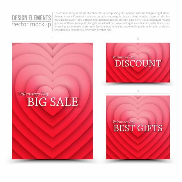 Happy valentines day verkoop vector design elements flyer card banner Premium Vector