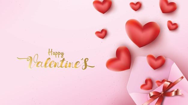 Happy valentines day wenskaart Premium Vector