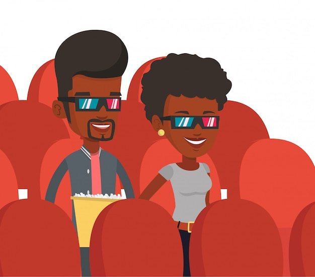 Happy vrienden kijken naar 3d-film in het theater. Premium Vector