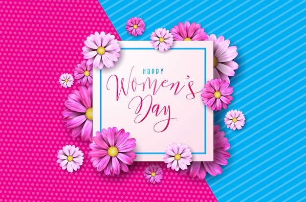 Happy women's day floral wenskaart ontwerp Premium Vector
