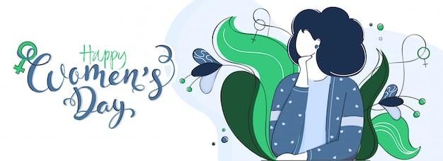 Happy women's day kalligrafie met cartoon jong meisje en bloemen versierd op witte banner Premium Vector